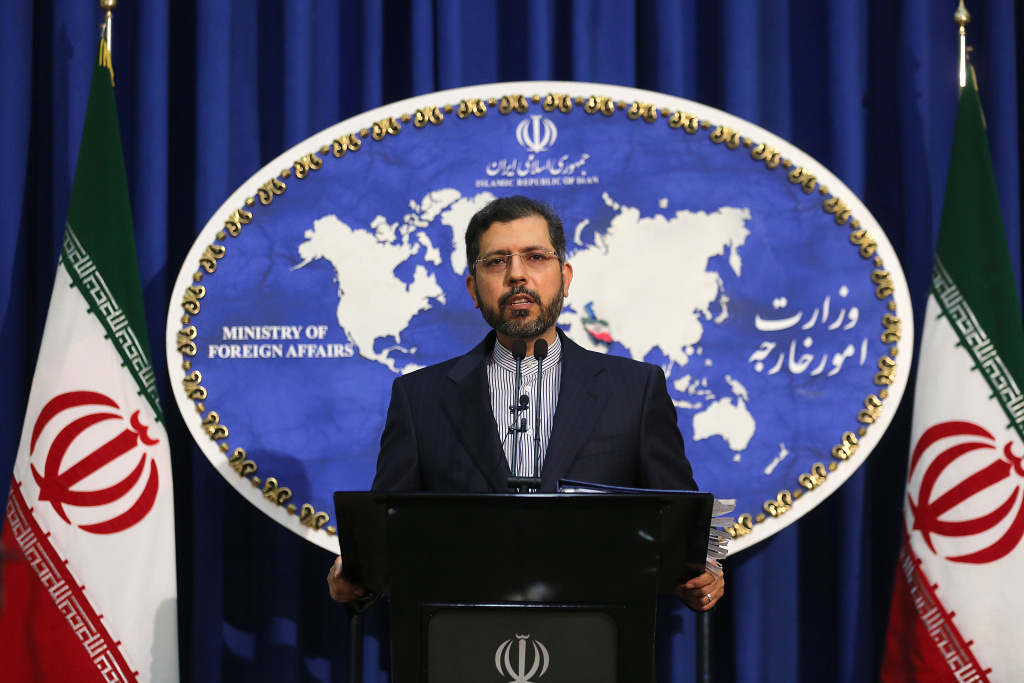 Iranian foreign ministry spokesman Saied Khatibzadeh gestures during a press conference in Tehran on February 22, 2021.