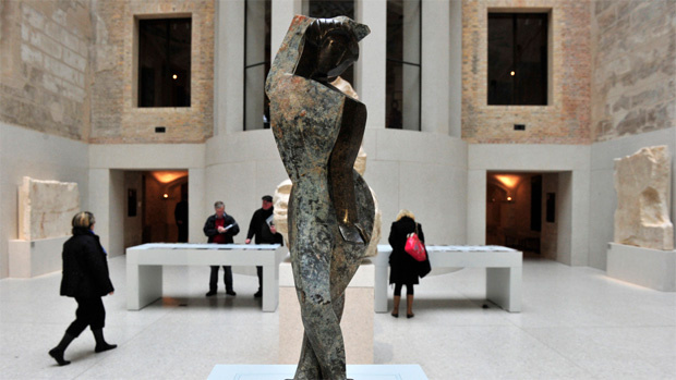 View of German artist Marg Moll's sculpture 'Female Dancer' (around 1930), during a press preview of so-called 'Degenerate Art' at Berlin's Neues Museum November 8, 2010. The sculpture is one of 11 pieces found in 2010 during archaeological excavations near the city's town hall (Rote Rathaus). At first believed to be ancient works, it was later found out that the sculptures had toured Germany as part of the Nazi-sponsored 1937 exhibition of 'Degenrate Art'.