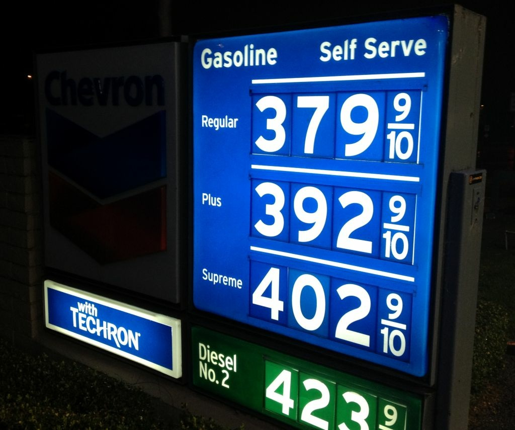 Gasoline prices in Southern California have only varied by a few pennies in recent weeks. The average price of a gallon of self-serve regular gas in LA County Friday is $3.74, the second highest in the state. Prices at a station in Newport Beach, January 25, 2013.