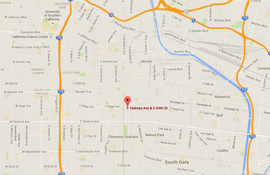 Los Angeles County Sheriff's deputies responding to a robbery call shot and killed a man at the intersection of East 64th Street and Holmes Avenue at about 4:30 a.m. on March 126, 2016. A sheriff's spokeswoman said the man matched the description given by a caller and took