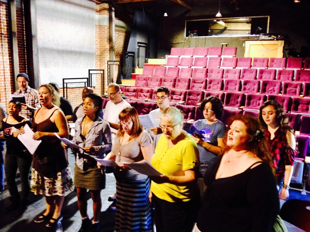 Secret City Singers choir rehearsal early on Sunday morning before the service at The Bootleg Theater in Silverlake.