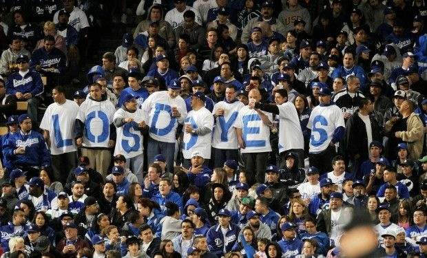 Festive Doyer fans at a Dodgers vs. Giants game, April 2009