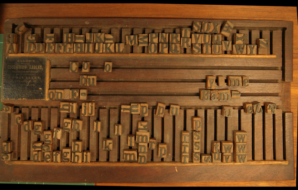 The Allen Company alphabet board dates back to 1840.