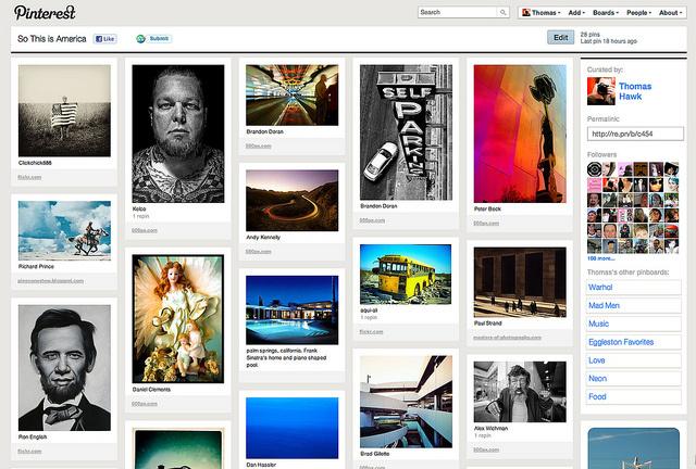 Screenshot of a Pinterest board, 2011.