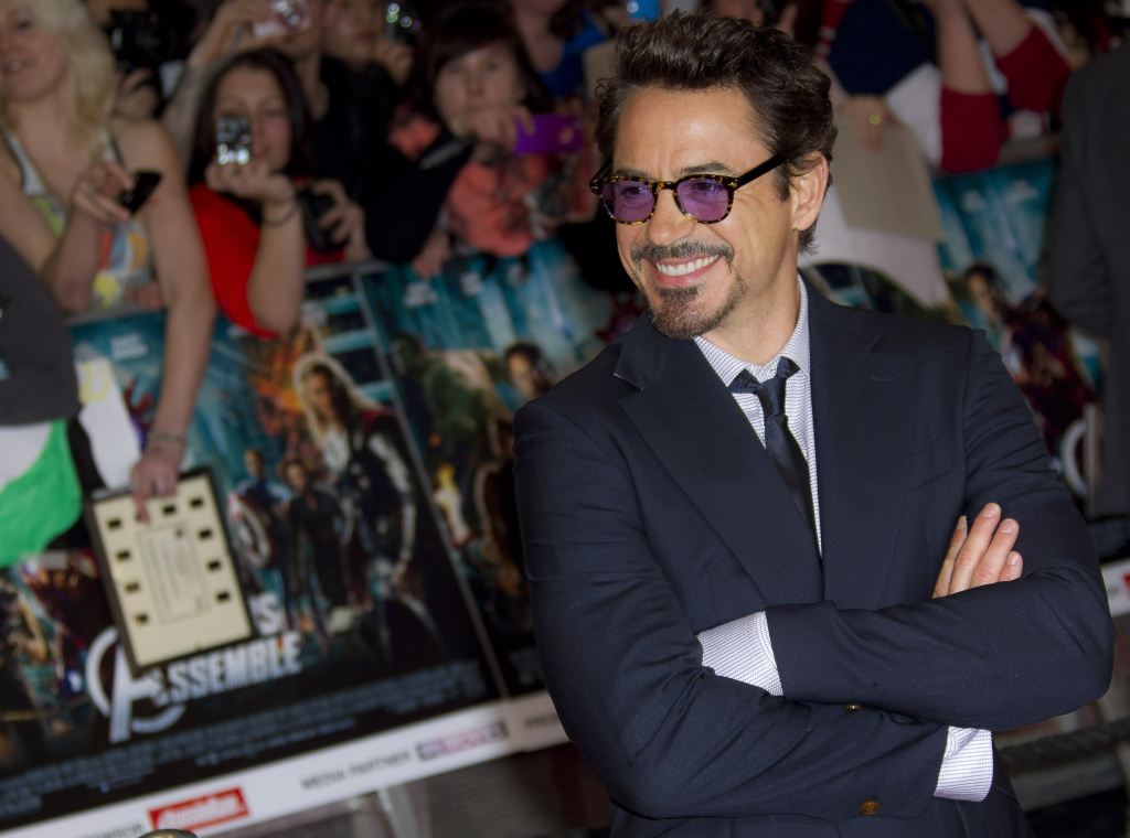 U.S. actor Robert Downey Jr. arrives for the European Premiere of 'Marvel Avengers Assemble', at a west London cinema, Thursday, April 19, 2012.