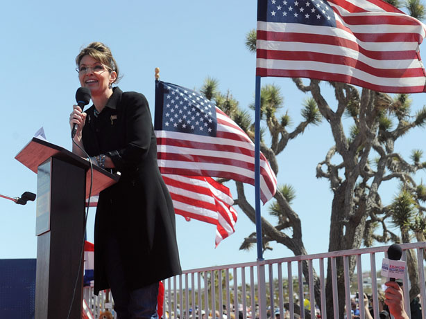 Sarah Palin speaks at a Tea Party rally in Searchlight, Nev., on Saturday. Thousands of Tea Party activists were in attendance.