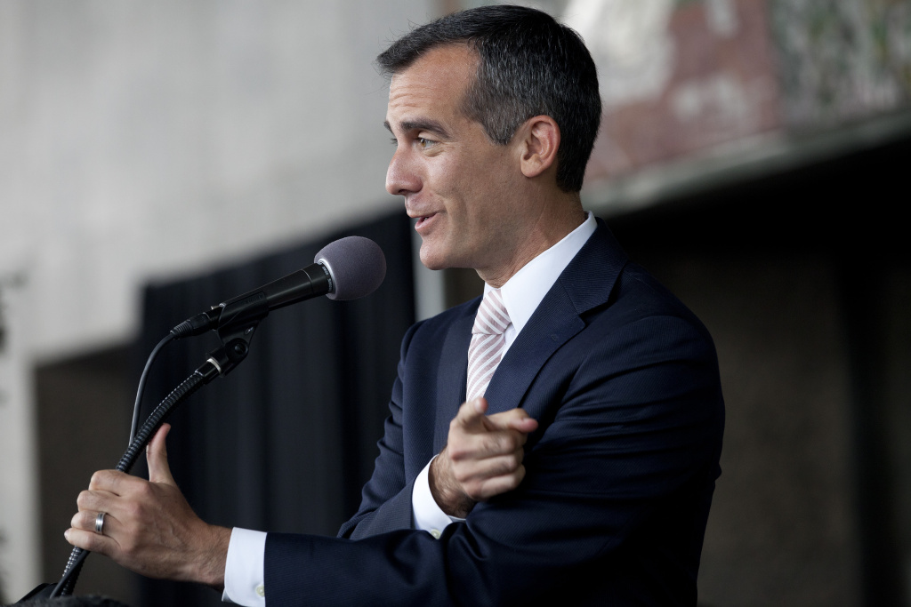 Mayor Eric Garcetti speaks during the naming ceremony for the ames K. Hahn City Hall East building downtown.