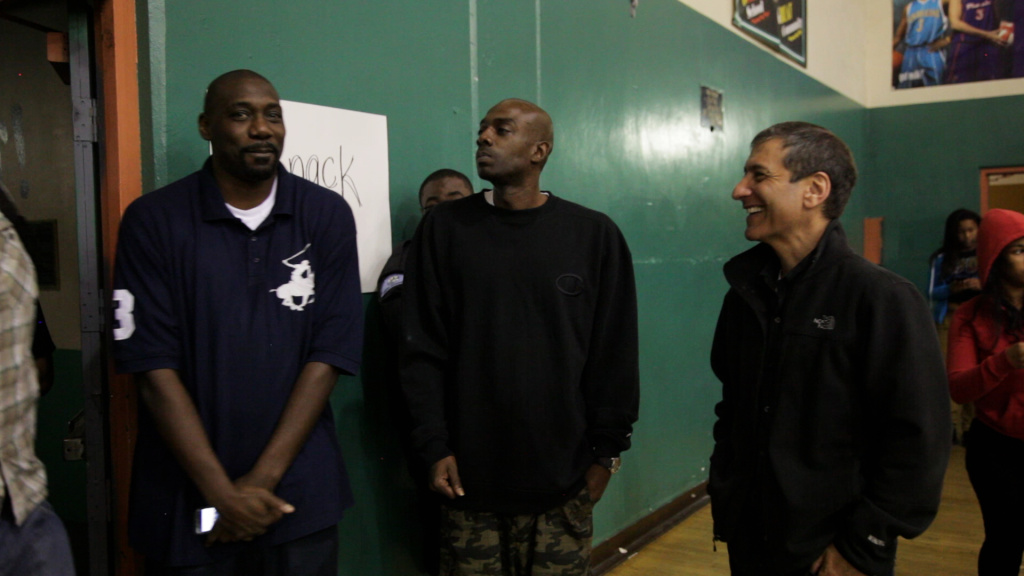 (L-R): former Morningside high school players Stais Boseman and Dwight Curry with producer Mike Tollin in