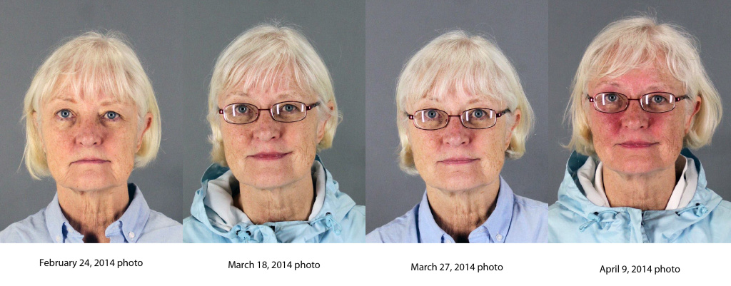 This combination of four 2014 booking photos released by the San Mateo County Sheriff's Office shows Marilyn Hartman.