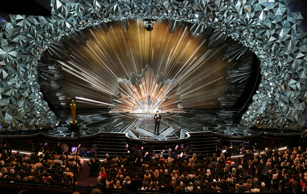A general view shows comedian Jimmy Kimmel delivering a speech during the opening of the 90th Annual Academy Awards show on March 4, 2018 in Hollywood, California.