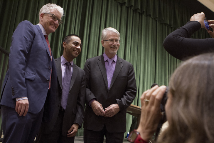 LAUSD Board of Education District 5 candidates Andrew Thomas, from left, Ref Rodriguez and Bennett Kayser take a group photo after attending a debate at Eagle Rock High School on February 5, 2015.