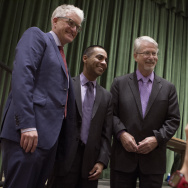 Los Angeles Unified school board candidates, from left, Andrew Thomas, Ref Rodriguez and Bennett Kayser take a group photo after a debate at Eagle Rock High School on Feb. 5, 2015.
