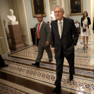 WASHINGTON, DC - JULY 13:  Senate Majority Leader Mitch McConnell (R-KY) walks to a meeting of Republican senators where a new version of their healthcare bill was scheduled to be released at the U.S. Capitol July 13, 2017 in Washington, DC. The latest version of the proposed bill aims to repeal and replace the Affordable Care Act, also knows as Obamacare. (Photo by Win McNamee/Getty Images)