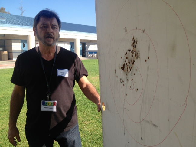 Ron Triebels, co-founder of the security company Safer Schools For America, said this demo bullet resistant door was shot at 130 times with various firearms. Twenty-five of bullet resistant doors like this will be installed at Valley Vista High School located in Fountain Valley as part of a donation.