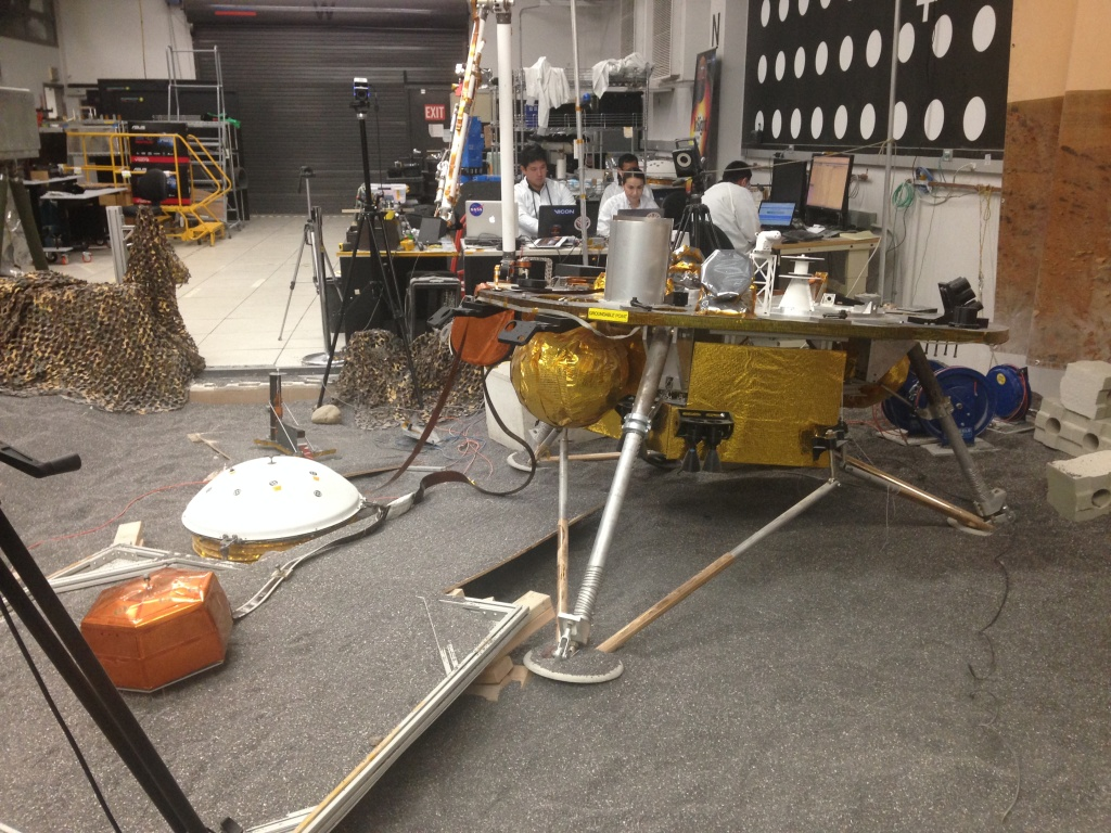 The engineering model of the InSight lander helps the mission's team at the Jet Propulsion Lab plan ahead for when the  real lander touches down on Mars.