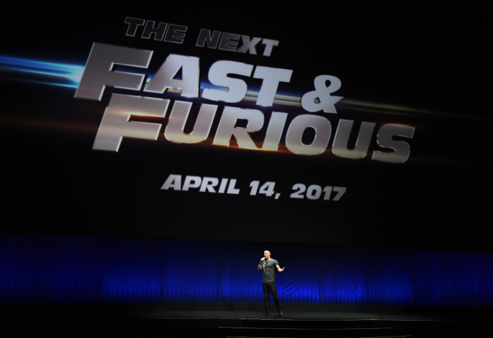 Actor Vin Diesel speaks onstage at Universal Pictures's presentation at Caesars Palace during CinemaCon, the official convention of the National Association of Theatre Owners, on April 23, 2015 in Las Vegas, Nevada.