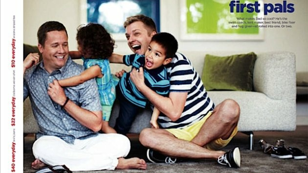 This advertisement from J.C. Penney shot for Father's Day shows real-life couple Cooper Smith and Todd Koch, along with their two children, Mason and Claire.