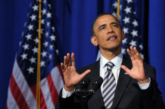 US President Barack Obama speaks during a Democratic National Congress fundraiser at The Town Hall April 27, 2011.
