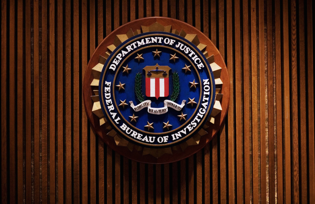 A crest of the Federal Bureau of Investigation is seen Aug. 3, 2007 inside the J. Edgar Hoover FBI Building in Washington, D.C.