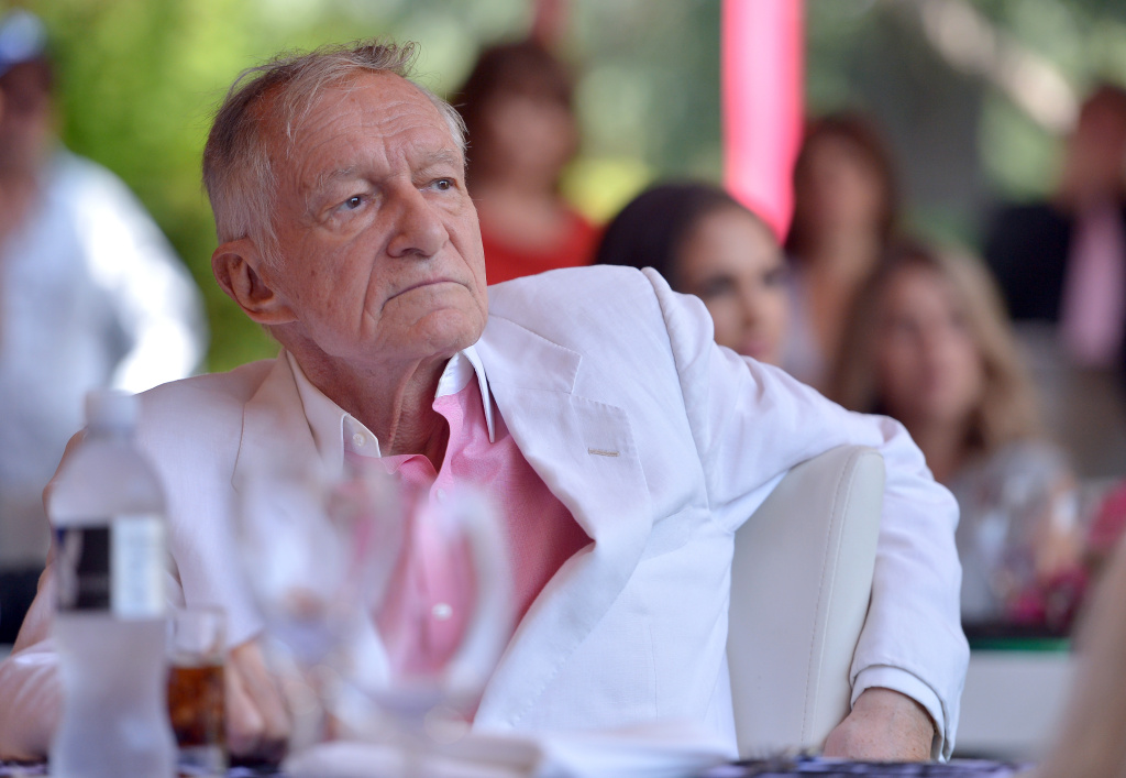 Hugh Hefner attends Playboy's 2013 Playmate Of The Year luncheon honoring Raquel Pomplun on May 9, 2013 in Holmby Hills, California.