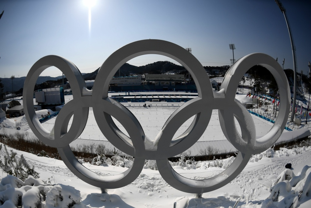 The Olympic rings are pictured at the biathlon shooting range ahead of the Pyeongchang Winter Olympics in South Korea.