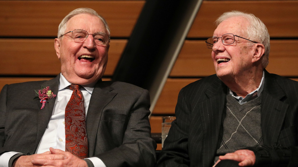 Former Vice President Walter Mondale and former President Jimmy Carter appeared together in 2018, marking Mondale's 90th birthday.