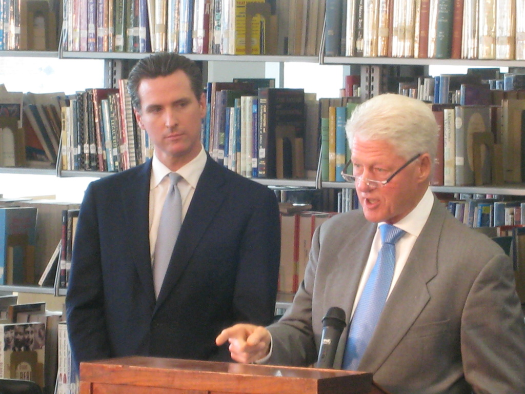 Former president Bill Clinton publicly endorses Gavin Newsom for governor at the energy-efficient library at Los Angeles CIty College.