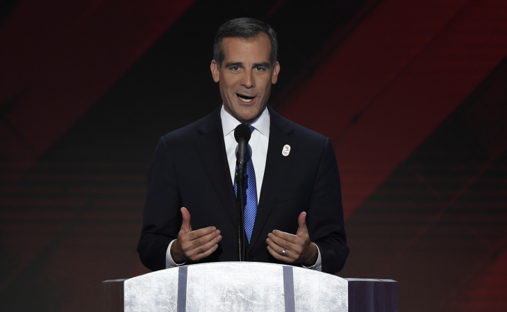 Los Angeles Mayor Eric Garcetti speaks during the final day of the 2016 Democratic National Convention on July 28, 2016, at the Wells Fargo Center in Philadelphia, Pennsylvania.