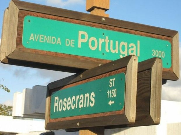 A street sign near the city's harbor is a reminder of a long-ago immigrant past, November 2010