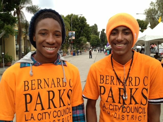 Clayton Jefferson and Michael Calhoun show their support for Councilman Bernard Parks at the Martin Luther King Jr. parade in Leimert Park, January 16, 2012.