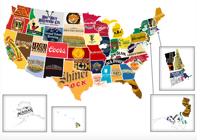 OT MAP Of US Based On Booze MWC Sports Forum MWC Message Board - Map ot the us