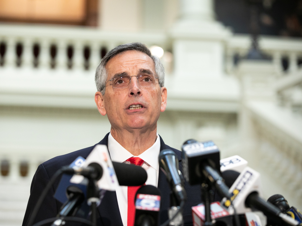 Georgia Secretary of State Ben Raffensperger holds a press conference earlier this month. Despite pressure from some fellow Republicans, Raffensperger is set to certify President-elect Joe Biden's victory in the state.
