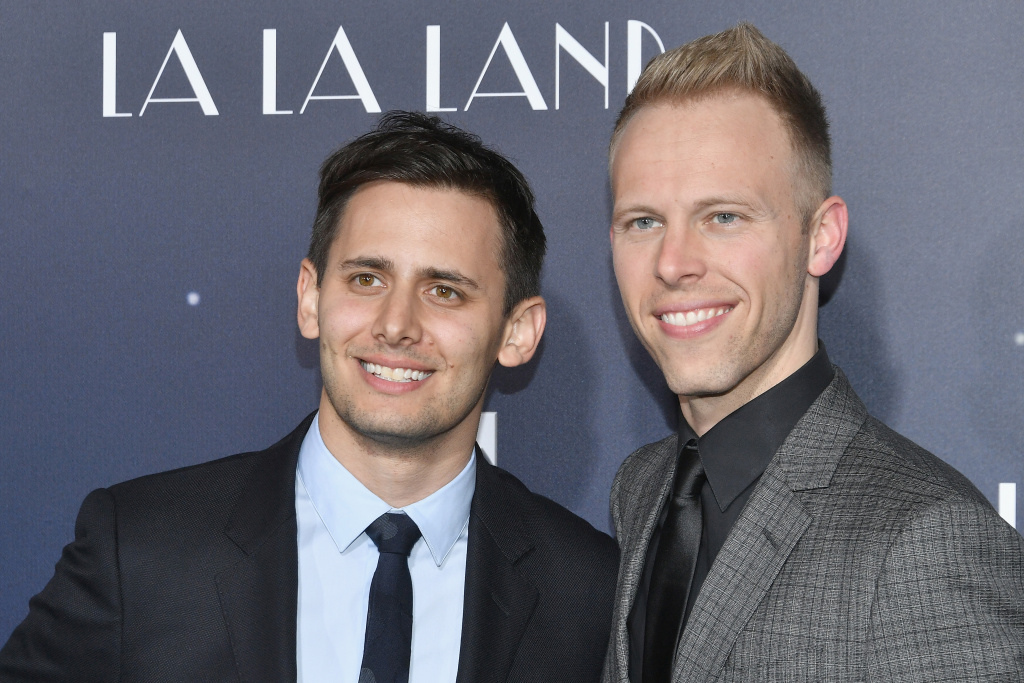 Lyricists Benj Pasek and Justin Paul attend the premiere of Lionsgate's