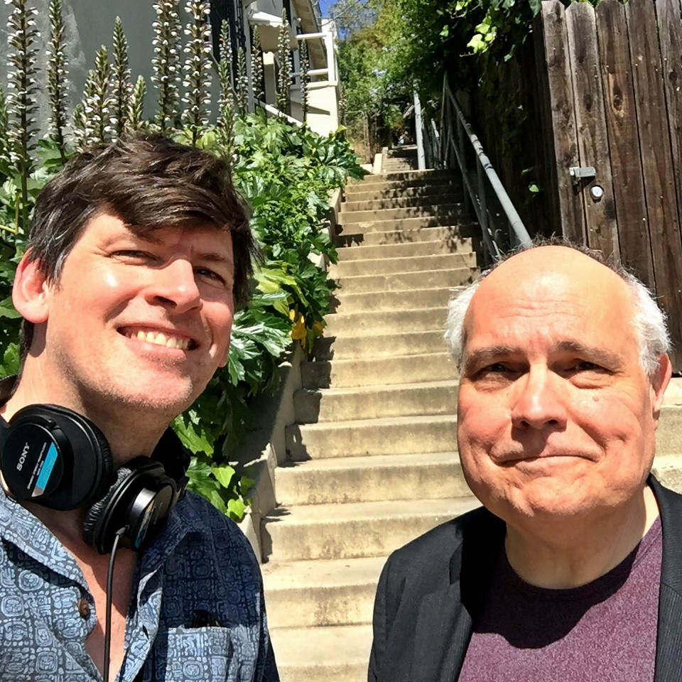 KPCC's John Rabe and actor/improvisor Mike McShane, at the famous Music Box Stairs in Silverlake, where Laurel and Hardy filmed their Oscar winning short in 1932.