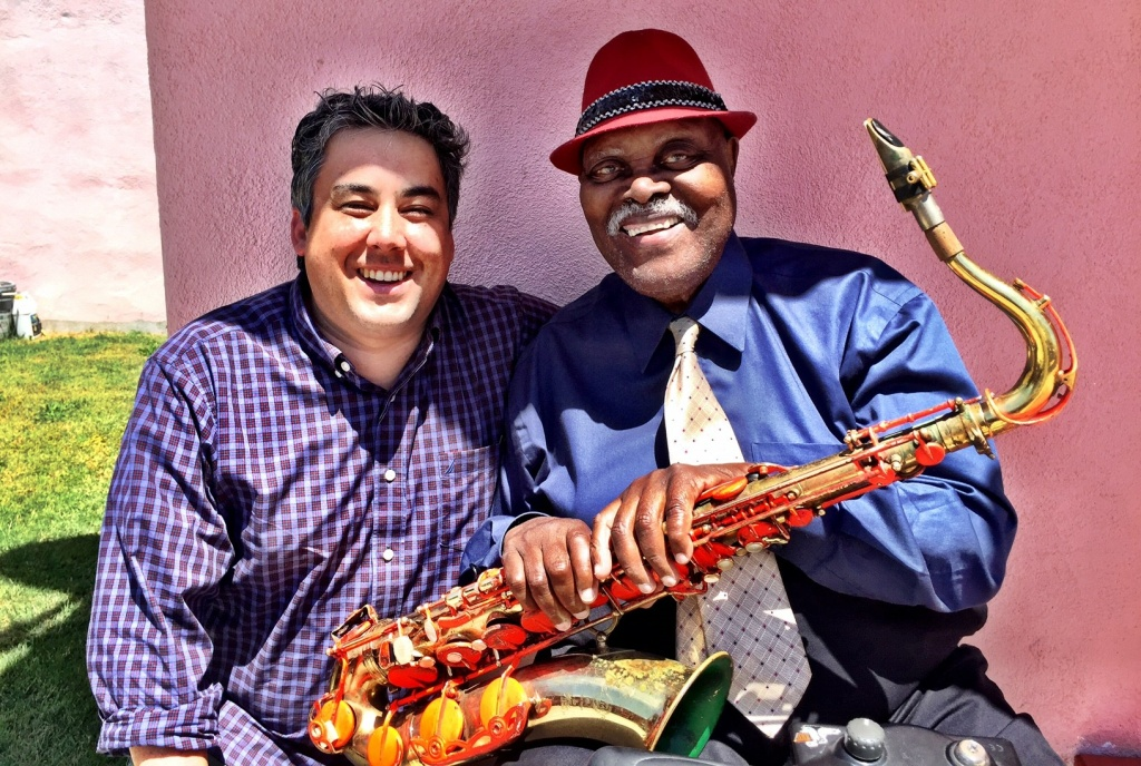 May 8, 2017: Sean J and Big Jay ... Off-Ramp jazz correspondent Sean J. O'Connell after his interview with 90-year-old sax legend Big Jay McNeely in South LA.