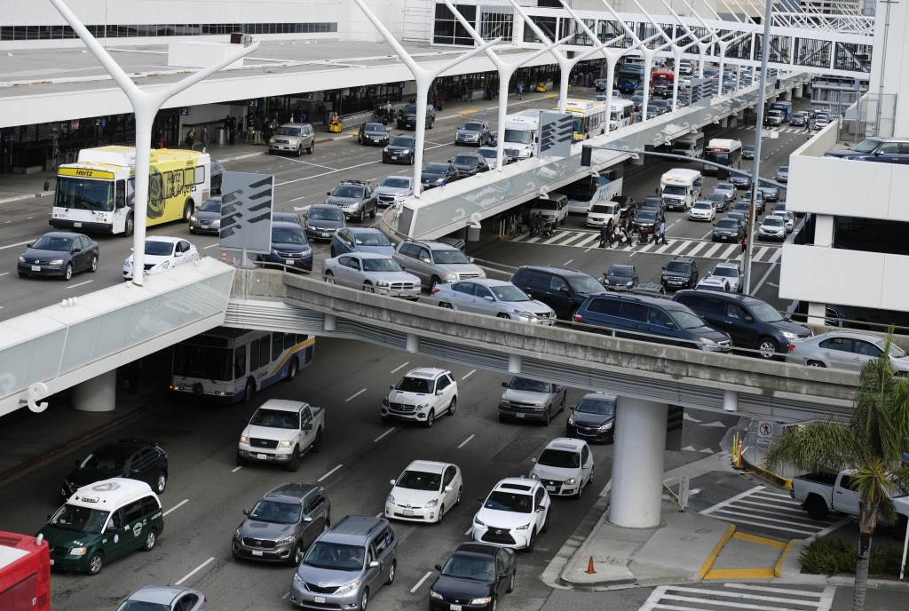 Traffic is congested at the Los Angeles International Airport, California on December 22, 2016.