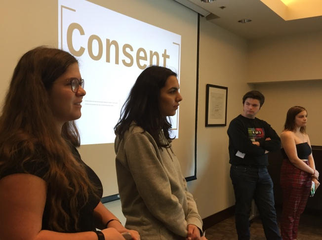 Ashley Cooper, community and school programs coordinator at the L.A. chapter of the National Council of Jewish Women, leads a conversation with peer educators about recent high-profile stories of sexual harassment.