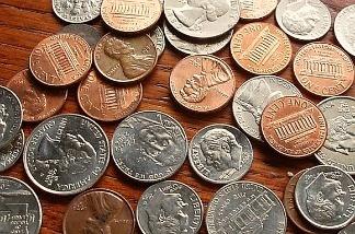 An assortment of U.S. coins.