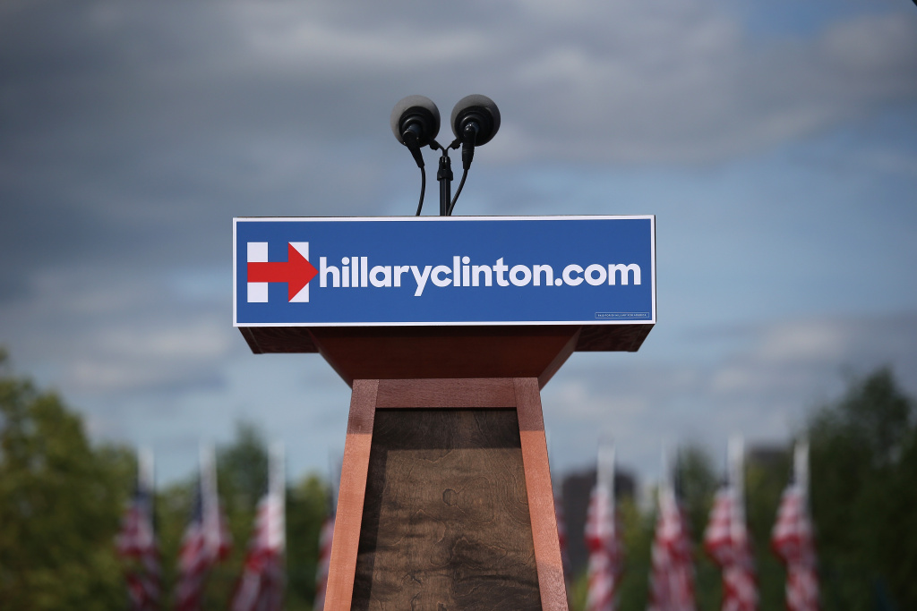 A podium awaits the arrival of former U.S. Secretary of State Hillary Clinton for her presidential campaign launch rally on June 13, 2015 in New York City. The Democratic hopeful planned to address thousands of supporters on at the Franklin D. Roosevelt Four Freedoms Park on Roosevelt Island.