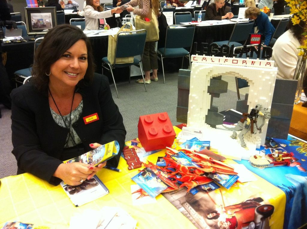 Julie Estrada promotes Legoland California Resort during the 2012 International Pow Wow at the Los Angeles Convention Center.