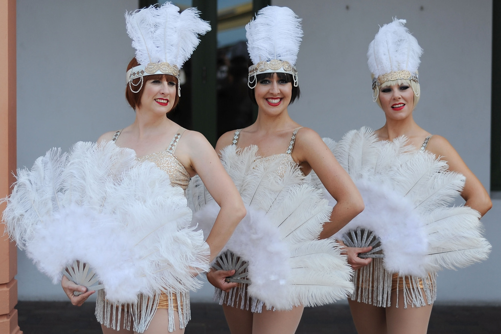 Ladies dress in period costumes during the Art Deco Festival on February 17, 2018 in Napier, New Zealand.