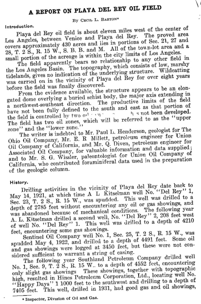 A 1931 report from the state Division of Oil and Gas about the discovery of oil at Playa del Rey.