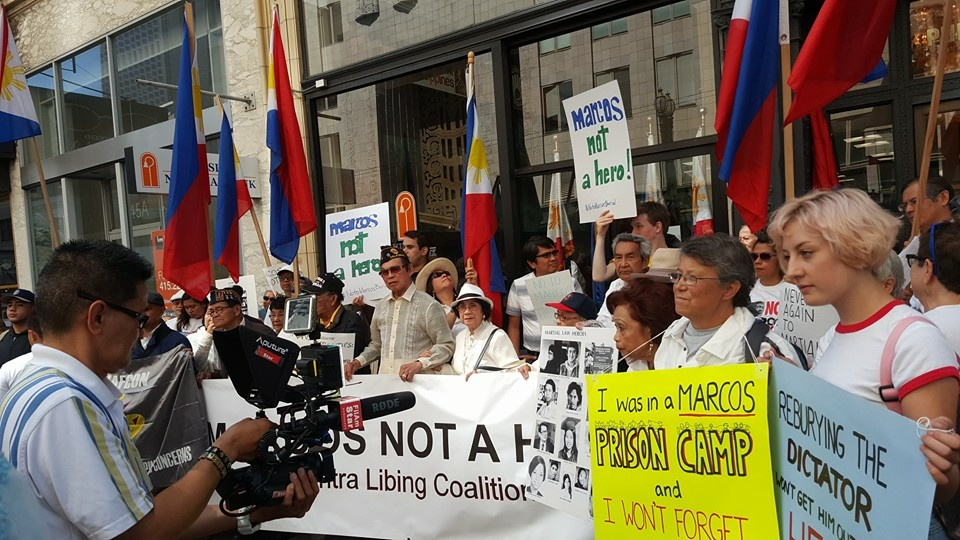 Protesters gathered in multiple US cities last week to protest a plan by Philippines President Rodrigo Duterte to re-bury former dictator Ferdinand Marcos in a national cemetery for military heroes. (Photo courtesy of Ron Arrieta and Abner Galino.)