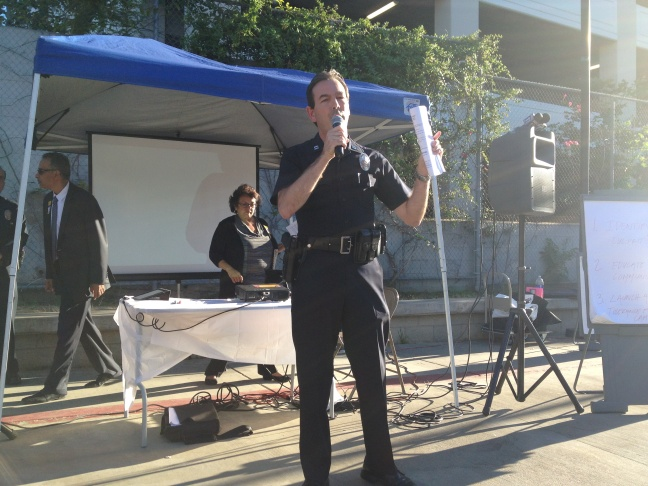 Echo Park residents held a community meeting about a recent stabbing police are investigating as a hate crime.