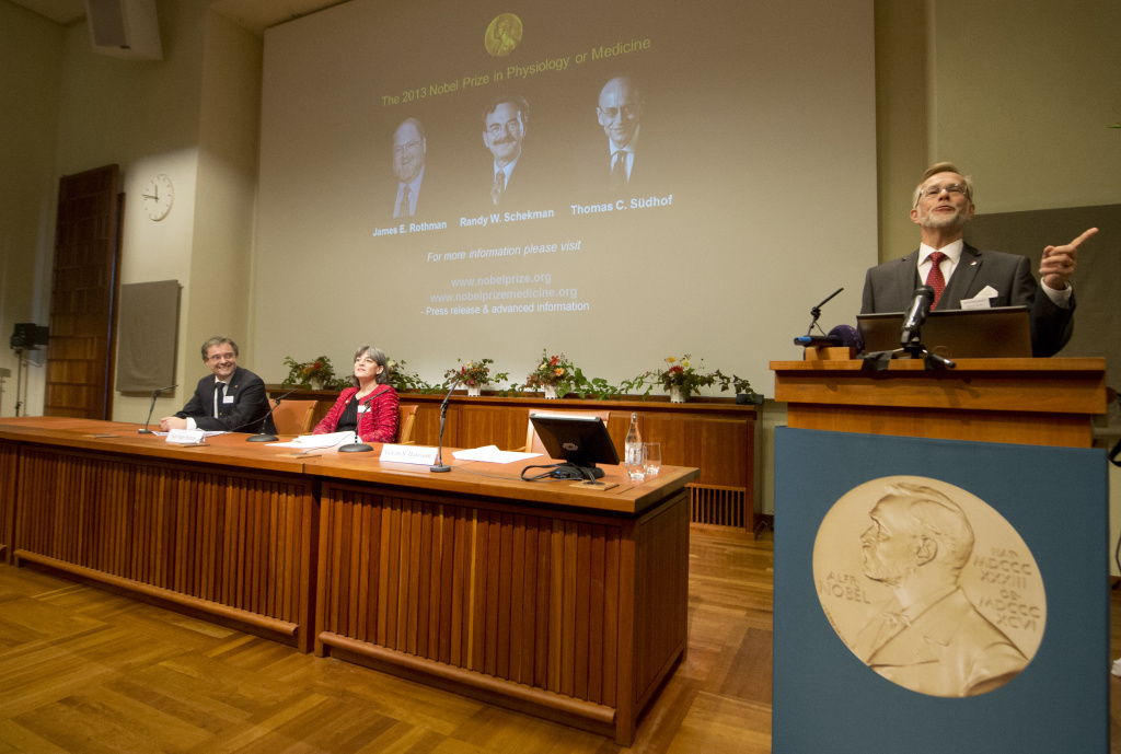 Goran Hansson, Secretary of the Nobel Committee for Physiology or Medicine, announces James E Rothman from the US, Randy W Schekman from the US and Thomas C Suedhof from Germany, as joined winners of the Medicine Nobel Prize at a press conference on October 7, 2013 at the Karolinska Institute in Stockholm. The first Nobel to be announced this year will be the medicine prize, but like every year, most of the speculation in the run-up to the announcements focuses on who will take home the prestigious peace and literature prizes.