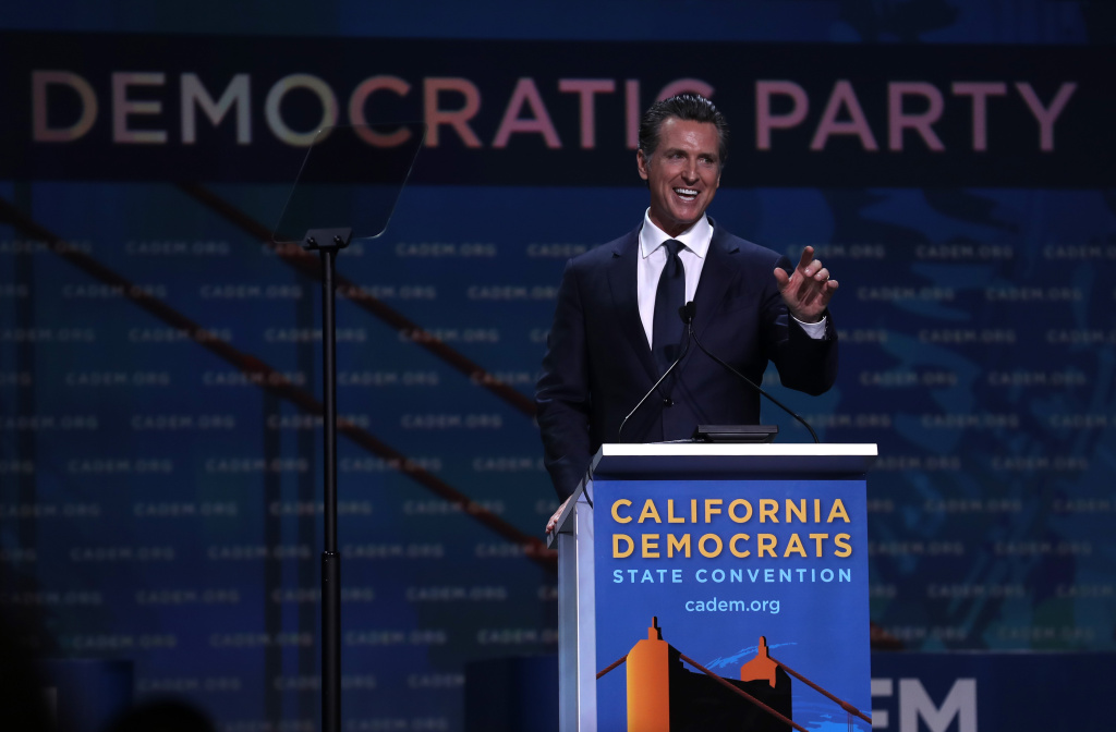 California Gov. Gavin Newsom speaks during the California Democrats 2019 State Convention at the Moscone Center on June 01, 2019 in San Francisco, California.