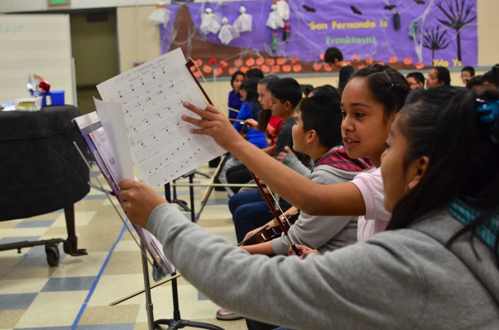 Los Angeles Unified School District elementary students practice during a music class.