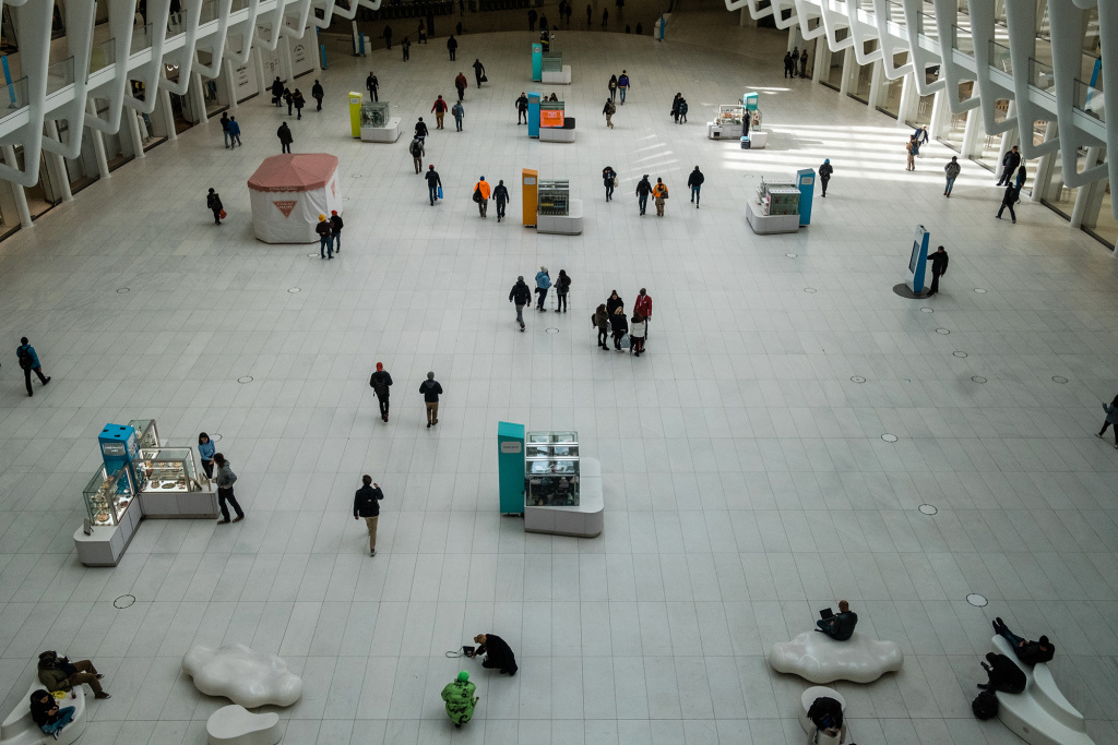 The Oculus transportation hub in New York, on Monday. The governors of New York, New Jersey and Connecticut have banned all gatherings of 50 or more people, and said bars, restaurants, casinos and gyms must close.