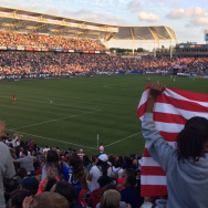 Fans cheer an early goal by the USA in its 5-1 defeat of Mexico at Carson's Stub Hub Center, May 17, 2015.
