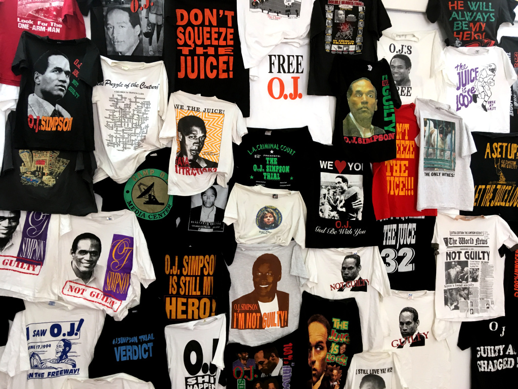 T-shirts at an exhibition of O.J. Simpson memorabilia at Coagula Curatorial in L.A.'s Chinatown.